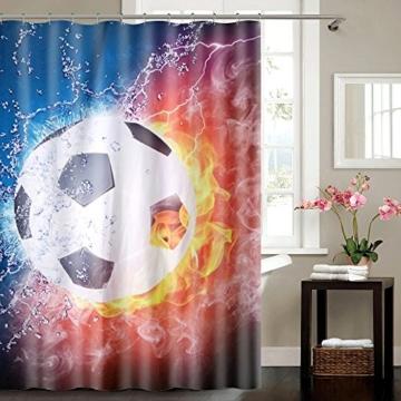 """Designer Duschvorhang """"This is Football"""" Fußball 180x180 cm incl. Ringe Vorhang -"""