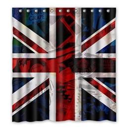 DOUBEE Personalisiert England Flagge Wasserdichtes Duschvorhang Shower Curtain 167cm x 183cm, Pflegeleicht -