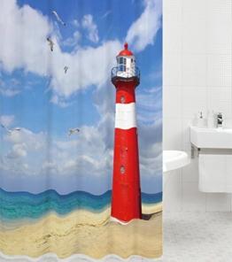 Duschvorhang Leuchtturm 180 x 180 cm, hochwertige Qualität, 100% Polyester, wasserdicht, Anti-Schimmel-Effekt, inkl. 12 Duschvorhangringe -