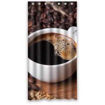 Fashion Design Personalisieren Wasserdicht Polyester Duschvorhang aus Stoff, mit Dusche Ringe–Tasse Kaffee und Bohnen Gewürznelken Zimt Sonnenblume Samen, Polyester-Mischgewebe, bunt, 36(w)x72(h) -