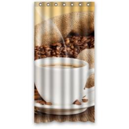 Fashion Design Personalisieren Wasserdicht Polyester Duschvorhang aus Stoff, mit Dusche Ringe–Tasse Kaffee Drink Coffee Bohnen Zimt Untertasse, Polyester-Mischgewebe, bunt, 36(w)x72(h) -