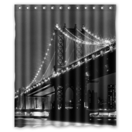 "Generic Custom New York Brooklyn Bridge Retro Classic Pattern Printed Waterproof Shower Curtain 60""(w) x 72""(h) Inches -"