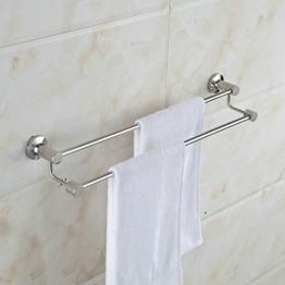 Hiendure® 304 Edelstahl hochwertig Wandmontag Wandhalterung Silbern Modern Einfach Elegant Doppel Handtuchstange Handtuchhalter für Badezimmer Dusche Küche, Chrom -