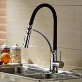 Hiendure® aus massivem Messing herausziehen Spray Küchenarmaturen Waschtischarmaturen Küchenspüle Wasserhahn Gummischlauch verchromt, Schwarze Farbe -
