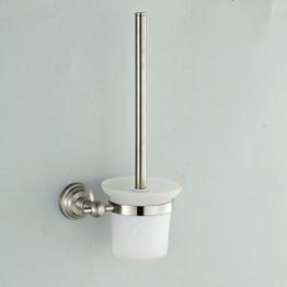 Hiendure ® BA87109S Badserie Ambiente - WC-Garnitur, WC-Bürste, Toilettenbürste aus satiniertem Glas und robustem Edelstahl matt - zur Wandmontage -