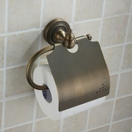 Hiendure® Badezimmer Wandmontage Antik Messing Toilettenpapierhalter WC-Papierrollenhalter, mit Deckel Papierhalter -
