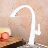 Hiendure® Messing Einhand hohen Bogen herunterziehen Küchenarmatur mit einziehbar herausziehen Sprayer Schwenkauslauf, Weiß -