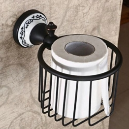 Hiendure® Wandmontage Antik Messing Papierhalter Korb Toilettenpapierhalter WC-Papierrollenhalter -