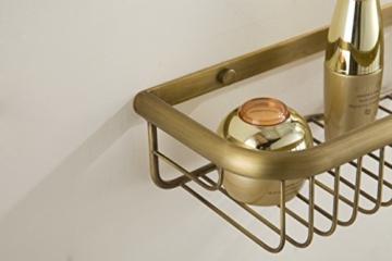 Hiendure®Antike Messing Badregal Wandregal massivem Messing Badezimmer Regal Organizer, Öl eingerieben Bronze -