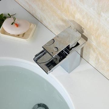 Hiendure®Armaturen für Waschbecken - Zeitgenössisch - Wasserfall - Messing (Chrom, (Short) -