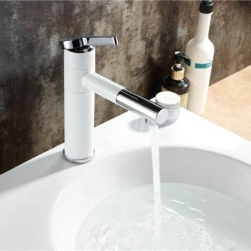 Hiendure®Moderner drehbarer Weiß Malerei Einhand Waschbecken Wasserhahn (Short) -