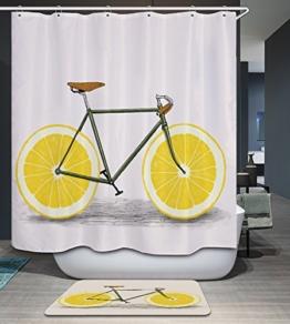 kisy Sommer Fahrrad Wasserdicht Bad Duschvorhang gelb lemon Radfahren Rad Badezimmer Dusche Vorhang Standard Größe 182,9x 182,9cm gelb weiß -