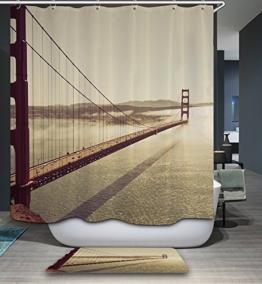 kisy Wasserdicht Schimmelresistent Dusche Badewanne Vorhang American Golden Gate Bridge Polyester Duschvorhang (180cm × 180cm) -