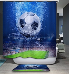 kisy Wasserdicht schimmelt nicht Dusche Badewanne Vorhang 3D Fußball Polyester Duschvorhang (180cm × 180cm) -