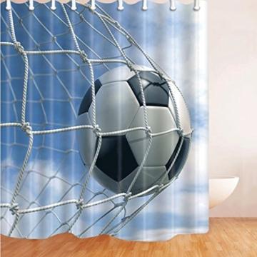 Kreative Mode Duschvorhänge Anti-Moldy wasserdicht verdickte Bad Dekoration Vorhänge Fußball Muster 3D 180 * 180cm -