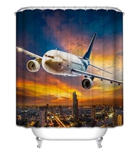 LA&NA Flugzeug Dekor Textil Design Stoff Badezimmer Duschvorhang Set mit Haken Wasserdicht und Mehltau resistent , 2 , 180*200cm -