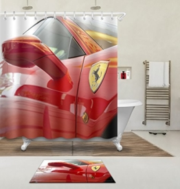 """LB 180X180cm (71 """"Wx 71"""" L) Polyester Fabrik 3d Drucken Wasserdicht Schimmel-Beweis Duschvorhang-- Rückspiegel Vorhänge Für Badezimmerdekoration Mit 12 Haken Und Matte Teppich(Leicht zu reinigen, geruchlos und schnell trocken) -"""