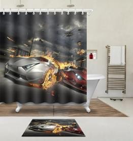 """LB 180X180cm (71 """"Wx 71"""" L) Polyester Fabrik 3d Drucken Wasserdicht Schimmel-Beweis Duschvorhang-- Brennende Auto Vorhänge Für Badezimmerdekoration Mit 12 Haken Und Matte Teppich(Leicht zu reinigen, geruchlos und schnell trocken) -"""
