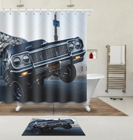 """LB 180X180cm (71 """"Wx 71"""" L) Polyester Fabrik 3d Drucken Wasserdicht Schimmel-Beweis Duschvorhang-- Umschlagwagen Vorhänge Für Badezimmerdekoration Mit 12 Haken Und Matte Teppich(Leicht zu reinigen, geruchlos und schnell trocken) -"""