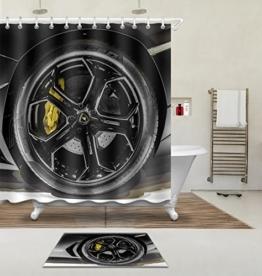 """LB 180X180cm (71 """"Wx 71"""" L) Polyester Fabrik 3d Drucken Wasserdicht Schimmel-Beweis Duschvorhang-- Schwarzer Reifen Vorhänge Für Badezimmerdekoration Mit 12 Haken Und Matte Teppich(Leicht zu reinigen, geruchlos und schnell trocken) -"""
