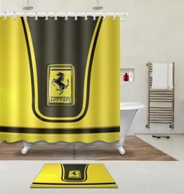 """LB 180X180cm (71 """"Wx 71"""" L) Polyester Fabrik 3d Drucken Wasserdicht Schimmel-Beweis Duschvorhang-- gelbes Auto Vorhänge Für Badezimmerdekoration Mit 12 Haken Und Matte Teppich(Leicht zu reinigen, geruchlos und schnell trocken) -"""
