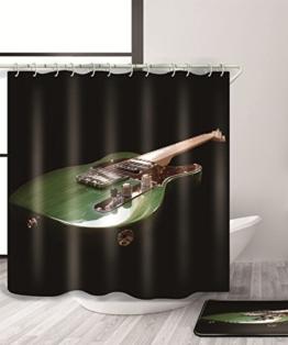 LIANJUN Duschvorhang Musik E-Gitarre 3D Duschvorhang Kreativ Wasserdicht Mouldproof Bad Vorhang mit Haken (11 Größen) Anti - statischer Duschvorhang ( größe : 180*220CM ) -