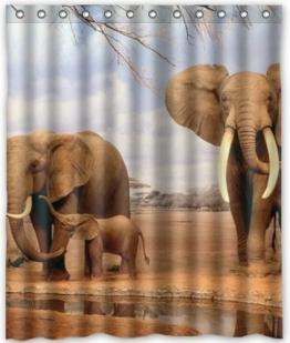 PETGOOD Duschvorhang Afrika Elefant viele schöne Duschvorhänge zur Auswahl, hochwertige Qualität, Wasserdicht, Anti-Schimmel-Effekt 180 x 200 cm -