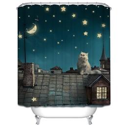 Starsglowing 180x200cm Duschvorhang, Duschvorhänge, Badewannenvorhang, Anti-Schimmel wasserdichter mit 12 Duschvorhangringe für Bad (Design 4) -