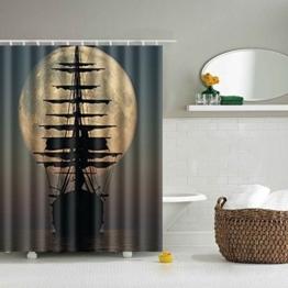 Toris Digitaldruck Polyester Dusche Vorhang mit verstellbarem Haken 180 x 180 cm löwe (Schiff) -