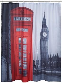 """VENKON - Duschvorhang """"Big Ben"""" mit London Print - 180 x 180 cm - inkl. 12 Duschvorhangringe -"""