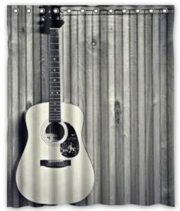 Violetpos Einzigartige kundenspezifische Gitarre Duschvorhang Badezimmer Dekorative 120 x 180 cm -