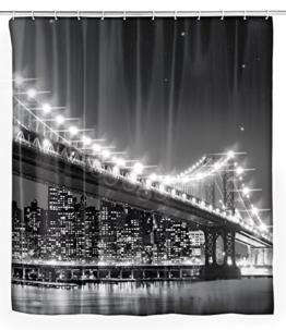 Wenko 22325100 LED Duschvorhang Brooklyn Bridge waschbar, mit 12 Duschvorhangringen, Polyester, Mehrfarbig, 180 x 200 cm -