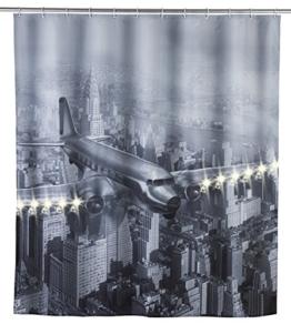 Wenko 22495100 LED Duschvorhang Old Plane waschbar, mit 12 Duschvorhangringen, Polyester, Mehrfarbig, 180 x 200 cm -