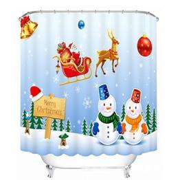 3D Karikatur Weihnachtsmann Schneemann Polyester Digitales Drucken Blackout Verdickt Wasserdicht Duschvorhang Badezimmer Dekoration , wide 165cmx high 180cm - 1