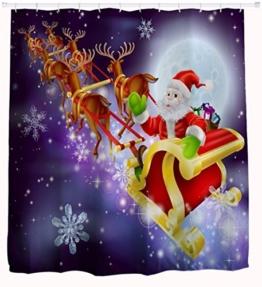 """A.Monamour Weihnachten Ferienhaus Dekor Santa Claus Mit Pferdeschlitten Rentier Druck Polyester Wasserdicht Duschvorhänge Textil 150X180 Cm / 60 """"X72"""" - 1"""