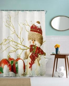 """A.Monamour Weihnachten Runde Ball Dekorationen Schneemann Hause Dekor Bad Polyester Duschvorhänge Textil Keine Liner Benötigt 180X200 Cm / 72 """"X78"""" - 1"""