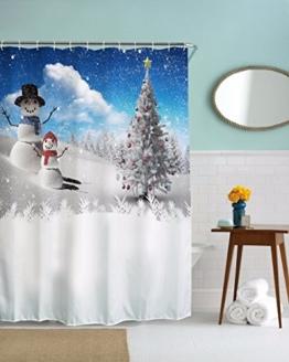 """A.Monamour Weihnachten Urlaub Thema Winter Saison Weiß Schnee Schneemann Druck Schwerlast Duschvorhänge Textil Bad Dekoration 150X180 Cm / 60 """"X72"""" - 1"""