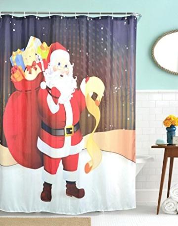 """A.Monamour Weihnachtsmann, Der Eine Große Tasche Trägt, Präsentiert Urlaubsthema Bilddruck Badezimmer Duschvorhänge - Wasser Mehltau Beständig - Maschinenwaschbar - 12 Stück Duschhaken Inbegriffen - Kein Stab Inbegriffen 180X200 Cm / 72 """"X78"""" - 1"""