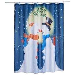 Alicemall Duschvorhang 180x180 Textil Schimmelresistenter Wasserabweisender Stoff-Duschvorhang Shower Curtain 180x180cm (Schneemann 3) - 1
