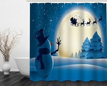Alicemall Duschvorhang 180x180 Textil Schimmelresistenter Wasserabweisender Stoff-Duschvorhang Shower Curtain 180x180cm (Schneemann 4) - 1