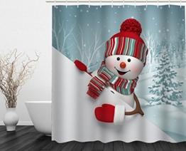 Alicemall Duschvorhang 180x180 Textil Schimmelresistenter Wasserabweisender Stoff-Duschvorhang Shower Curtain 180x180cm (Schneemann 1) - 1