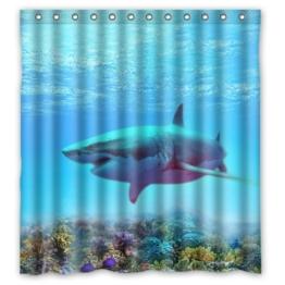 Deep Sea Big Bunte Unterwasserwelt-Fische Hai Coral hochwertigem Polyester Custom Duschvorhang, 167.64 cm x 182.88 cm £ ¨ ca. 168 cm x 183 cm - 1