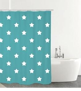 Duschvorhang aus Textil STERNE 180 x 200 cm, mit 12 Ringen - türkis mit weißen Sternen - 1