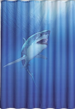 Duschvorhang Shark 180cm breit x 200cm lang Textil ohne Ringe blau Hai im Meer - 1