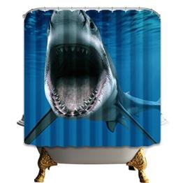 Fipart Polyester Anti Mehltau wasserdichten Duschvorhang bis 72x72 Zoll mit 12 Haken(Hai) - 1