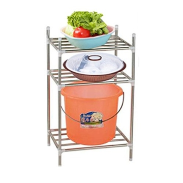 Gazechimp 3 Reihen Edelstahl Badezimmer Küche Regal, Duschregal, Badregal - Space Saver -