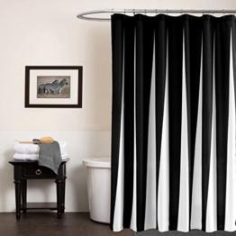 GWELL Schwarz Weiß Wasserdichter Duschvorhang Anti-Schimmel inkl. 12 Duschvorhangringe für Badezimmer 177x183cm - 1