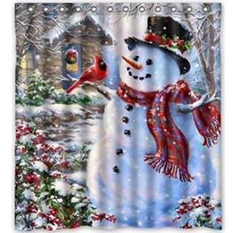 HARRYSTORE Weihnachten Schneemann Muster Wasserdicht Stoff Badezimmer Duschvorhang - 1