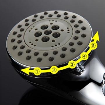 Homelody 1/2 Zoll Handbrause 5 Strahlarten Knopfdruck verstellbar handbrausen Antikalknoppen 5-fachauswahl Regendusche Wasserspar Duschkopf Multifunktions Brausekopf Brause Knopf verchromt - 5