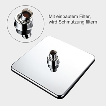 Homelody 8 Zoll quadratische Regendusche Superflacher Brausekopf Duschkopf Regenbrause Regenduschkopf Kopfbrause (Eckig 200X200mm) - 4